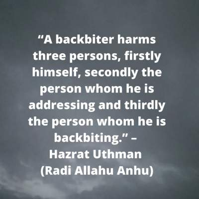 backbiting quotes in islam by Hazrat Uthman