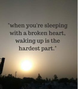 sleeping with a broken heart status